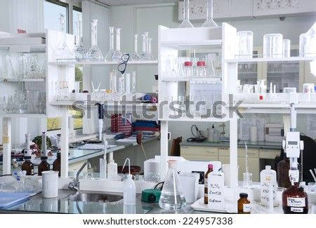 Chemical laboratory background. Laboratory concept. - stock photo