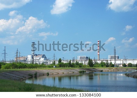 "Chernobyl nuclear power plant view. Object ""Shelter"" (""Sarcophagus). Kiev region. Ukraine"