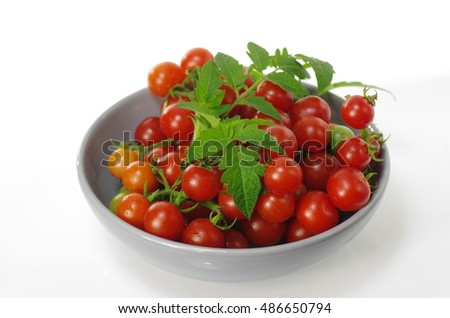 cherry tomatoes in grey  plate on white background