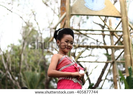 Chiang Rai Thailand- APRIL 13, 2016:The girl in the beauty contest in Songkran Festival l is the traditional New Year's Day from 13 to 15 April by throwing water at each other.