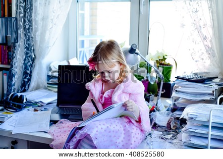 child and home office - stock photo