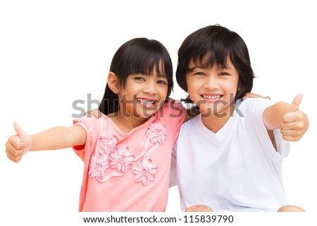 2 Child Making thumbs up with a Smile, Isolate on white with clipping path - stock photo