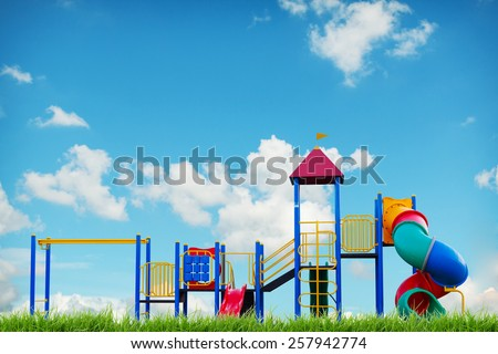 children playground on blue sky summer - stock photo