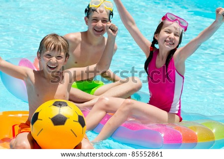 Children playing in pool