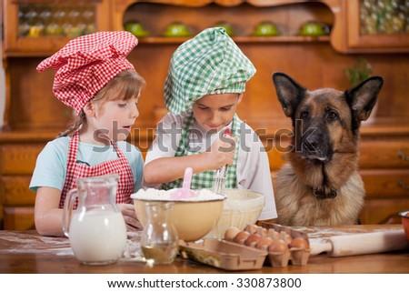 children preparing cookies in the kitchen, German Shepherd watching  - stock photo