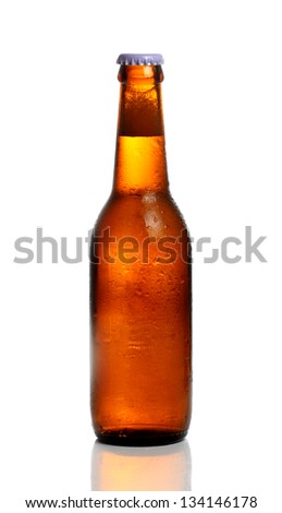 Chilled isolated brown beer bottle