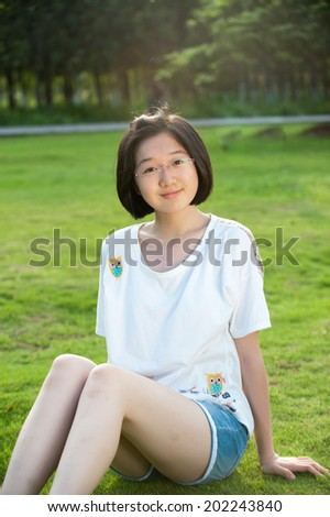 china girl  in the park