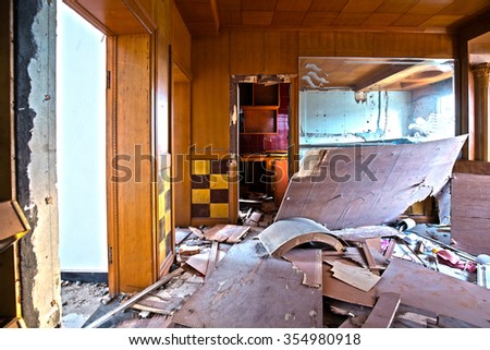China Inside the building, demolished - stock photo