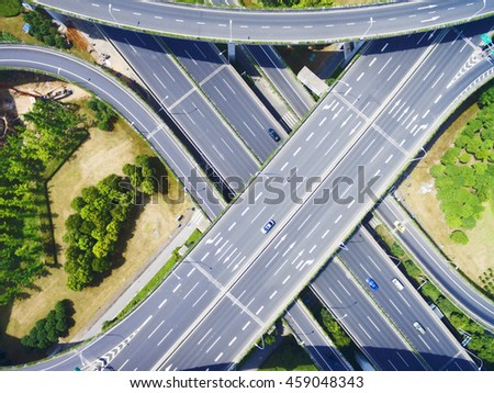 China, modern Viaduct Aerial view