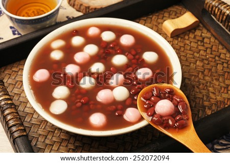 Chinese dessert, red bean soup with rice ball - stock photo