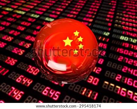 Chinese economic Bubble on stock market quotes - stock photo