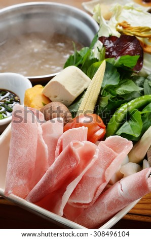 Chinese hot pot with meat, tofu, vegetable,       - stock photo