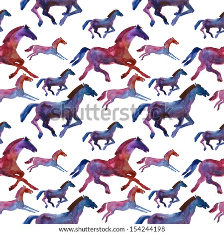2014 Chinese Lunar New Year of the Horse Zodiac. Watercolor horse silhouette. seamless pattern - stock photo