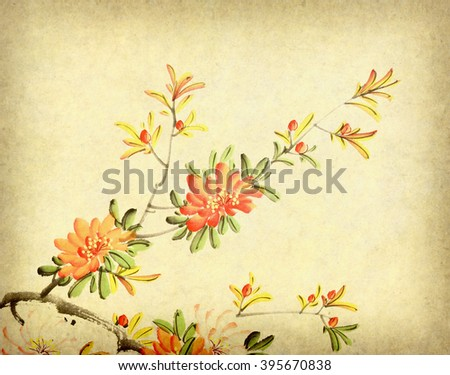 Chinese painting of flower - stock photo