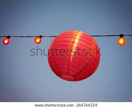 Chinese Paper Lanterns at a party during the evening  - stock photo