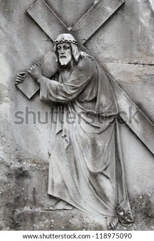 Christ Carrying the Cross - antique relief, Italy - stock photo