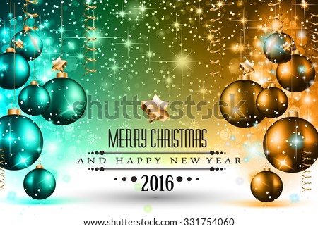 2016 Christmas and Happy New Year Party flyer. Complete layout with space for text for your dinner invitation, xmas parties or new year's eve party flyer. - stock photo