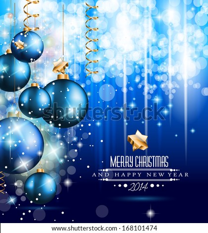 2014 Christmas and New Yaer Colorful Background with a waterfall of ray lights and a lot of baubles and stars. - stock photo