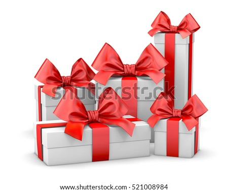 Christmas and New Year's Day , group red gift boxes white background 3d rendering