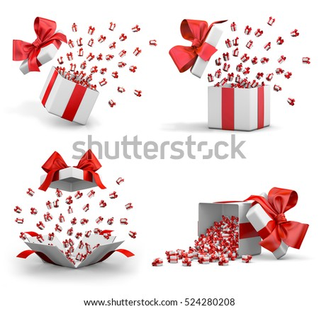 Christmas and New Year's Day , Open Gift box emitting little gifts many boxes with a red ribbon ,3d rendering