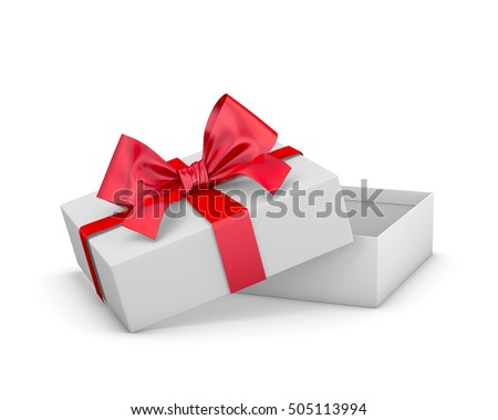 Christmas and New Year's Day,Open red gift box white background 3d rendering