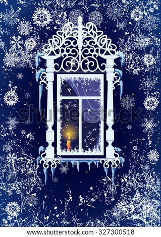 Christmas background with candle, window and snowflakes - stock photo