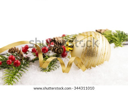 Christmas ball and Christmas background  - stock photo