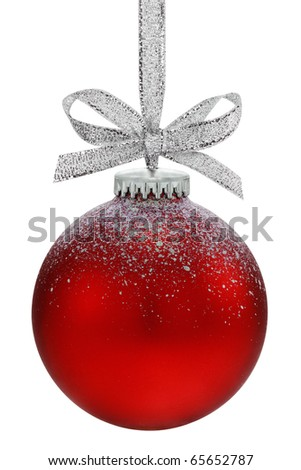 Christmas ball, hanging from a ribbon, isolated on the white background, clipping path included. - stock photo