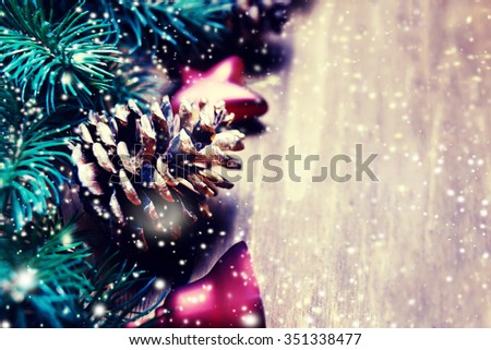 Christmas Card with festive decorations. New Year holiday backdrop with copy space