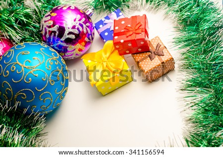 2016. Christmas cards,Christmas toys,Christmas box on a white background - stock photo