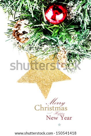 Christmas composition with  fir tree, snow and  decorations  (with easy removable sample text) - stock photo