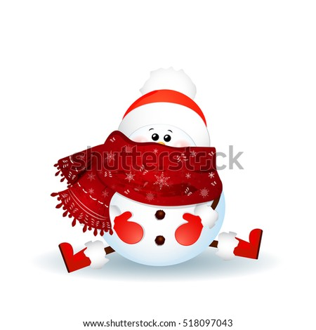 Christmas  Cute snowman with scarf, red santa claus hat sitting on the floor isolated on white background.  illustration. Cartoon holiday  character.