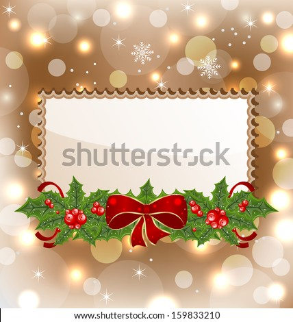 Christmas elegant card with mistletoe and bow - raster