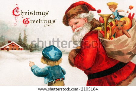 'Christmas Greetings' - Santa Claus asking directions from a little boy - a circa 1914 vintage greeting card illustration.