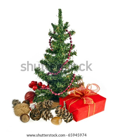 Christmas present box under Xmas tree