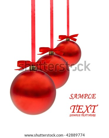 Christmas red  balls over white background with copy space for text