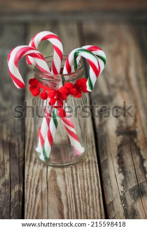 christmas sweet candy in the glass on the background - stock photo