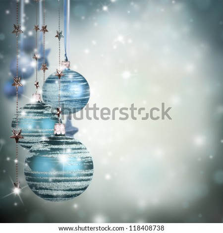Christmas theme with blue glass balls and free space for text - stock photo