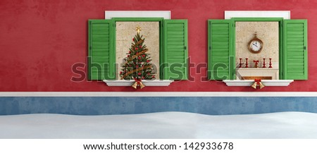 Christmas tree and fireplace through two opened windows - rendering - stock photo