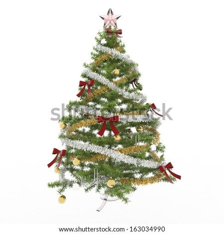 Christmas tree decorated - stock photo