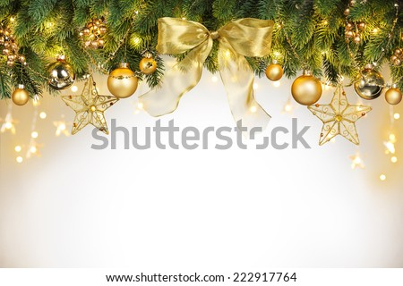 Christmas tree decorations with copy space - stock photo