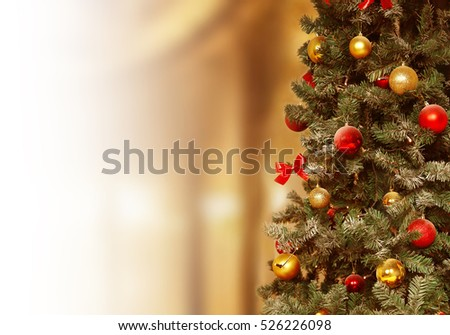 Christmas tree, gifts background. December, winter holiday xmas decoration.