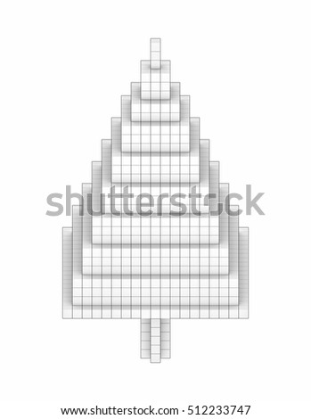 Christmas Tree icon 3D Illustration and Rendering volumetric pixel or voxel, isolated front view isometric