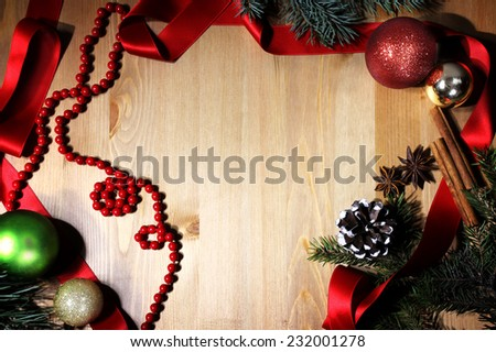 christmas wooden background balls
