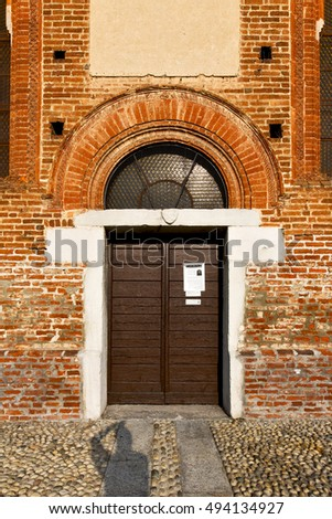 church  in  the   parabiago closed brick tower sidewalk italy  lombardy     old