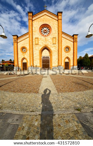 church  in  the villa cortese     closed brick tower sidewalk italy  lombardy     old