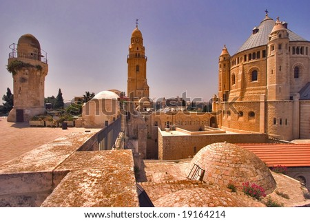 Churches and mosques in old quarters of Jerusalem - stock photo