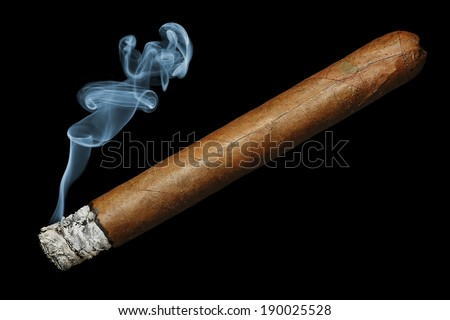 cigar with smoke isolated on black background - stock photo