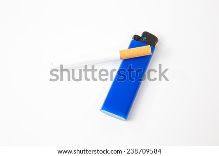 cigarette and blue  lighter on a white background