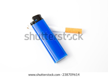 cigarette and blue  lighter on a white background top view